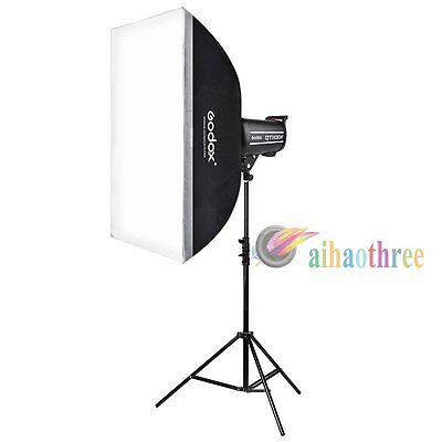 Godox QT400II 400W 2.4G HSS 1/8000s Studio Strobe Flash + Softbox + Light Stand