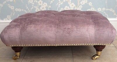 A Quality Deep Buttoned Footstool In Laura Ashley Villandry Amethyst Fabric