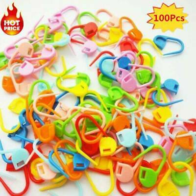 100Pcs Knitting Craft Crochet Locking Stitch Needle Holder Markers Col Clip J9G2