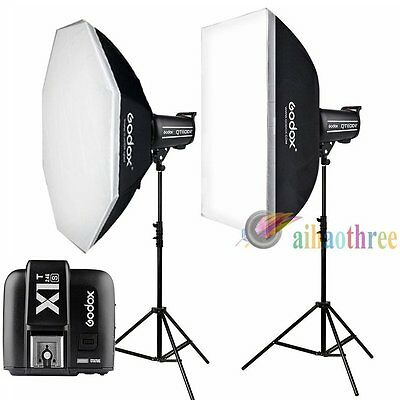 2Pcs Godox QT400II 400W 2.4G HSS 1/8000s Studio Strobe Flash Light Kit For Sony
