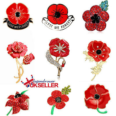 Poppy Pin Flower Brooch Badges Beautiful Red Rhinestone Poppies-Gift Remembrance