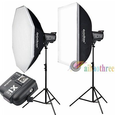 2Pcs Godox QT400II 400W 2.4G HSS 1/8000s Studio Strobe Flash Light Kit For Nikon