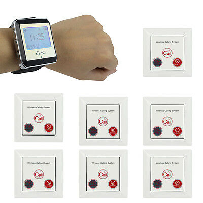 Wireless Calling Restaurant Order Paging System Watch Receiver+Call Button Pager