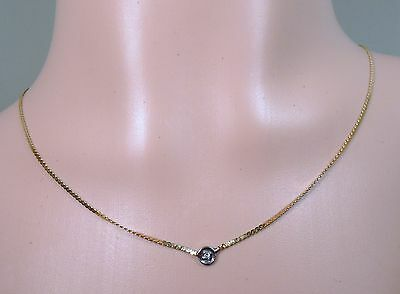 100% Genuine 14k Yellow & White Gold Serpentine Necklace with a diamond. 38cm