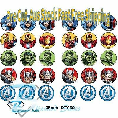 30X Avengers Superhero Edible Cupcake Toppers 35mm Wafer Birthday Party Cake