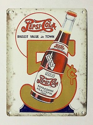 Pepsi Cola Best Value in Town SML - Tin Metal Wall Sign