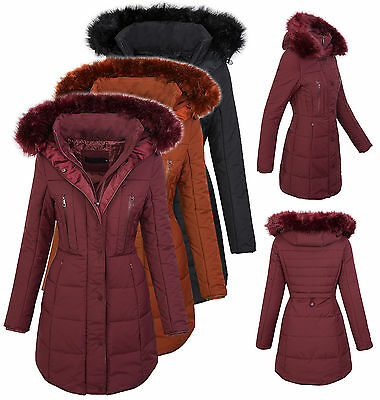 Damen Winter Jacke Steppmantel Parka Langer Mantel Fell Kragen