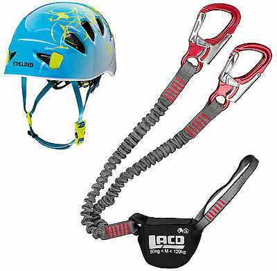 Klettersteigset LACD Pro Evo red + Helm Edelrid Womens Shield II icemint snow
