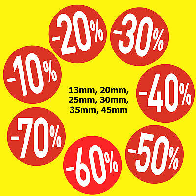 Bright Red Sale  Stickers / Sticky Labels -10% -20% -30% -40% -50% -60% -70%