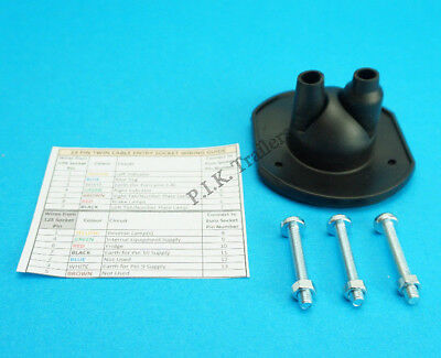 Twin Cable Entry Towing Socket Gasket & Mounting Bolts Trailer Caravan