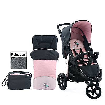Hauck Viper Slx 3 Wheel Pushchair Stroller Birdie With Footmuff And Changing Bag