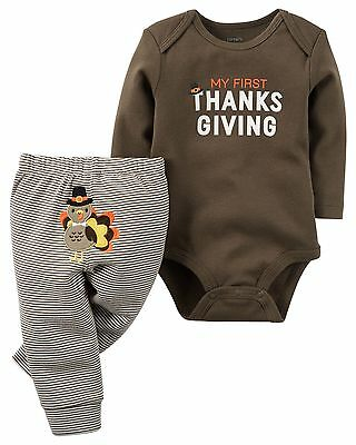 NEW Boys Girls Carter's 2 Piece Thanksgiving Outfit Set Newborn or 3 Months