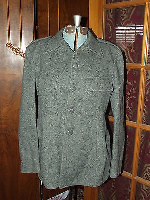 Vtg Unidentified Grey Wool Cfm Military Jacket Exploding Bomb Button Artillery