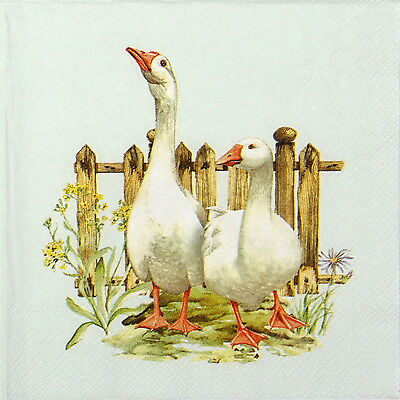 4 x Single Table Party Paper Napkins for Decoupage Decopatch Craft Geese Farm