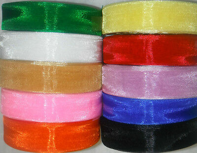 Large Rolls Organza Ribbon, 24mm/1'', 10 Colours, 50 Yards Each, Great Bargain