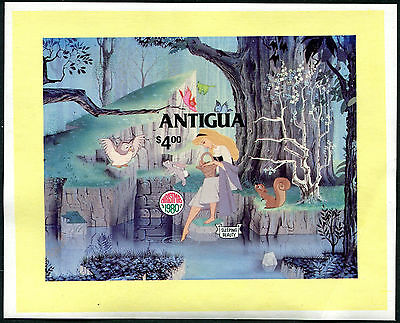 Antigua 1980 Christmas Disney Sleeping Beauty mini sheet IMPERF fine, fresh MNH