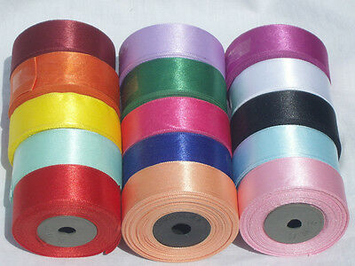 15 ROLLS SATIN RIBBON, 15 Different Colours, Size 24 MM