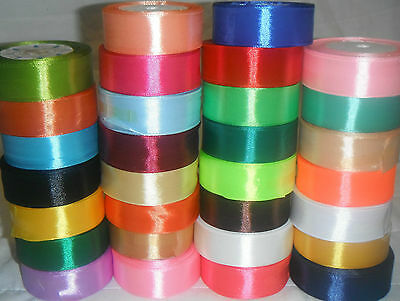 "30 ROLLS OF SATIN RIBBON, Size 25mm / 1"" Inch, 30 Different COLOURS  RRP £60"
