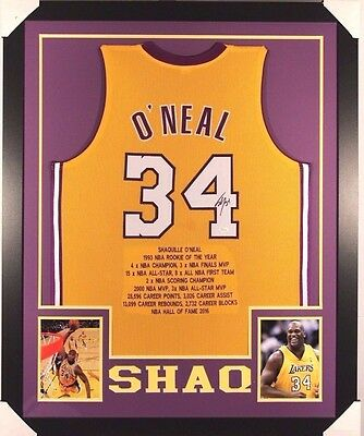 SHAQUILLE SHAQ O'NEAL AUTOGRAPHED FRAMED LAKERS JERSEY with JSA WITNESSED COA