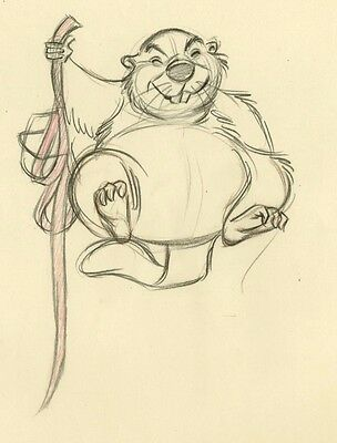 1955 DISNEY Lady and the Tramp BEAVER Larson Animation Production Drawing