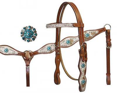 Showman Leather Hair on Cowhide Bridle & Breast collar Set w/ TEAL Rhinestones!