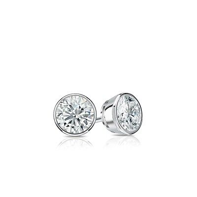 1 Ct Round Cut Earrings Studs Real 14K White Gold Brilliant Bezel Screw Back