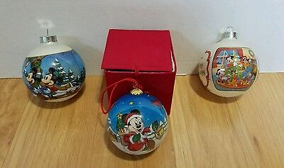 Disney Mickey Mouse Glass Ball Christmas Ornaments, Lot of 3