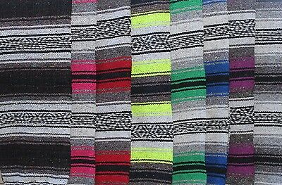 "Authentic Mexican Falsa Blanket Hand Woven Yoga Mat Blanket 72""x 54"" Serape"