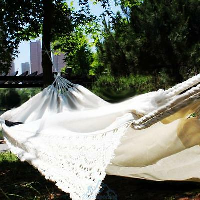 Portable Cotton Outdoor Swing Chair Beach Camping Hanging Hammock Bed w/ Tassel