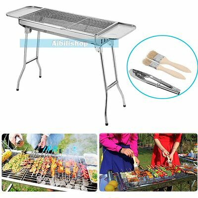 Folding Charcoal BBQ Grill Barbecue Cooking Outdoor Camping Stainless Steel【UK】