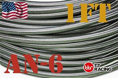 Stainless Steel Double braided 1500 PSI -6AN AN6 Oil Fuel Gas Line Hose by Foot