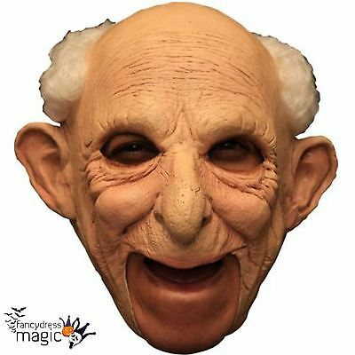Deluxe Gus Old Man Grandpa Latex Halloween Chinless Head Mask With Chinstrap Wig