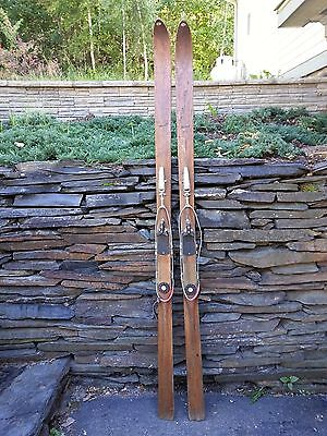 "ANTIQUE Wooden 77"" Skis with Cable  Bindings + BLOND Finish Signed NORTHLAND"