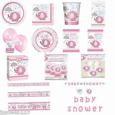 Pink Umbrellaphants Baby Shower Party Supplies Tableware Decorations Girl here
