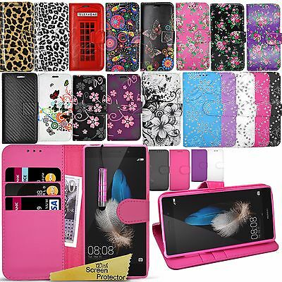 For Huawei P8 Lite  - Wallet Leather Case Flip Book Cover + Screen Protector