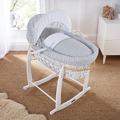 New Clair De Lune Barley Bebe Grey Padded White Wicker Moses Basket