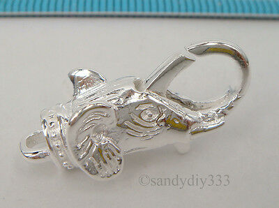 1x BRIGHT STERLING SILVER ELEPHANT  LOBSTER CLASP BEAD 23.9mm #2053