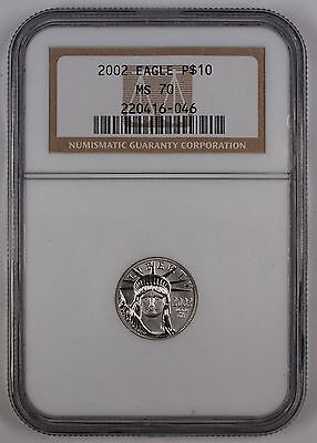 2002 Platinum American Eagle Coin, NGC MS-70, Perfect Coin