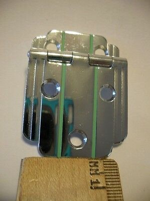 "1 Vintage NOS CHROME Cabinet Door Hinge GREEN Lines 3/8"" Offset Art Deco Amerock"