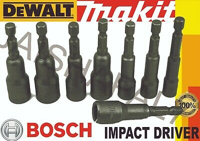 "1//4/"" Hex Magnetic Nut Driver Set Bits 6 to 13mm Fits Hitachi Hilti Milwaukee"