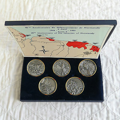 1984 40th ANNIVERSARY OF D-DAY 5 x 50mm MEDAL BOXED SET - j balme