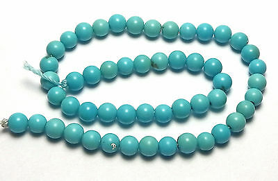"""7.5"""" SLEEPING BEAUTY TURQUOISE 4mm Round Beads AA NATURAL COLOR /R78"""
