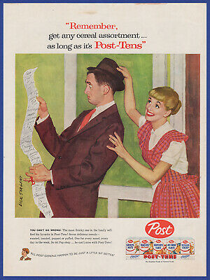 Vintage 1957 POST Post-Tens Toasties Cereal Kitchen Art Decor RARE Print Ad 50's