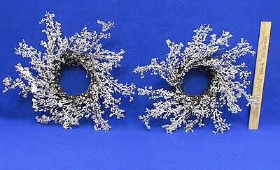 Candle Rings Wreaths Christmas Winter Decor Snow Ice Crystal Covered Grape Vine