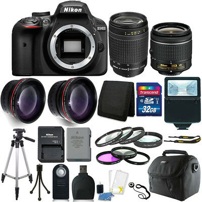 Nikon D3400 24MP Digital SLR Camera + 18-55mm + 70-300mm Lens + Accessory Kit