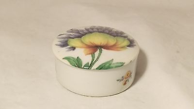 CD Limoges Small Floral Round Pill Box