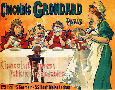 POSTER FRENCH MOTHER DRINKING TEA DAUGHTER HOT COCOA CAT VINTAGE REPRO FREE S//H