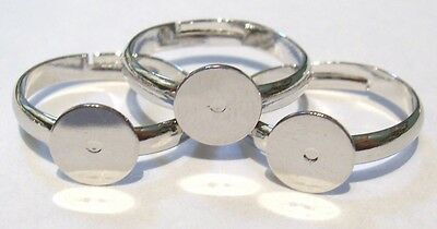 12 x Silver Plated Adjustable Ring Bases - 8mm Pad - Adult Ring Blanks RING 8