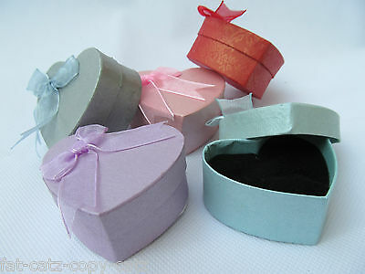Small Heart Shaped Quality Jewellery Gift Boxes Padded Insert Pastel Colours Uk