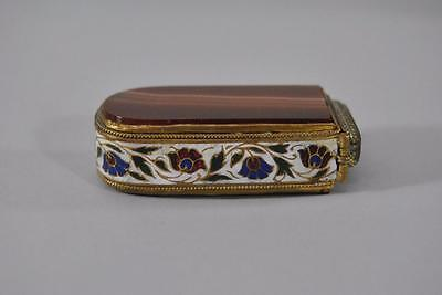 Antique Vesta Box / Match Safe French Floral Enamel Champleve Agate And Brass